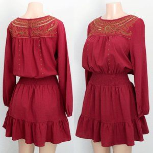 Current Air Red Burgundy Embroidered Smock Dress